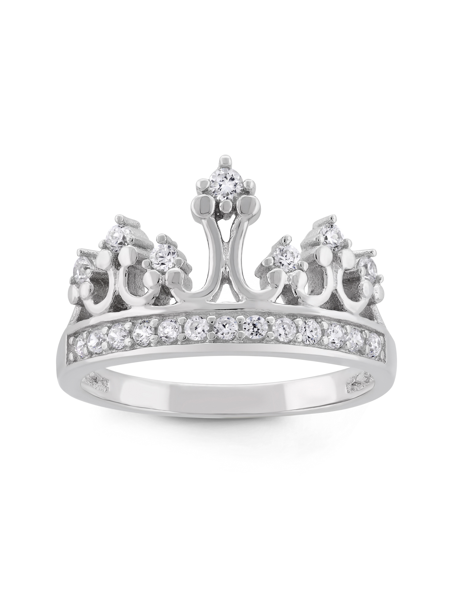 Cubic Zirconia Sterling Silver Crown Ring - Walmart.com