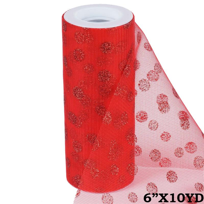 6 inch x 10 yards Glittered Polka Dot Tulle - Red