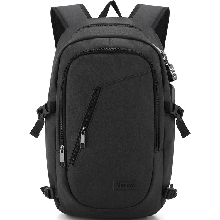 Business Laptop Backpack, 15 15.6 Inch Water Resistant College Backpacks / USB Charging Port, Anti-theft Lightweight Travel Bag for Women & Men, Fits UNDER 17 Laptop / Computer (Black)
