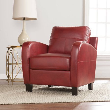 Southern Enterprises Barrow Faux Leather Lounge Chair Red