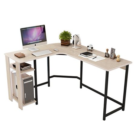 DL furniture - L Shaped Office Desk Computer Desk Table Personal Working Space Lapdesk Corner Set with Wood Surface Board & Steel Frame Support for Livingroom Bedroom Office (White Wood Tone)