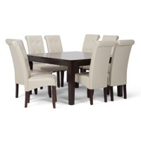 Brooklyn + Max City Contemporary 9 Pc Dining Set with 8 Upholstered Dining Chairs in Satin Cream Faux Leather and 54 inch Wide Table