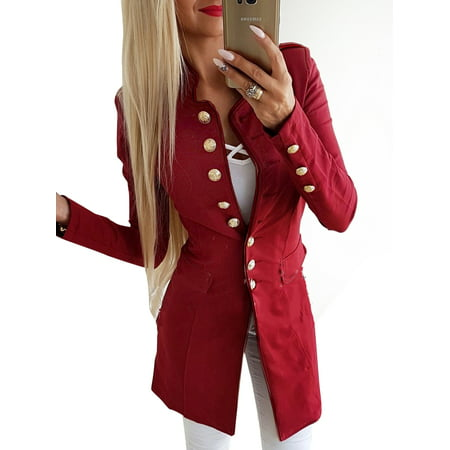 Women Buttons Open Front Cardigan  Ladies Work Blazer Jackets Double Breasted Casual Tops Long Sleeve Office Coat Suit Outwear Suit Coat