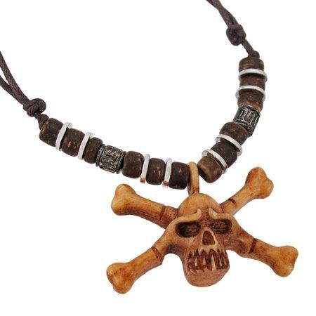 Wooden skull crossbones pendant w cord necklace walmart wooden skull crossbones pendant w cord necklace aloadofball Gallery