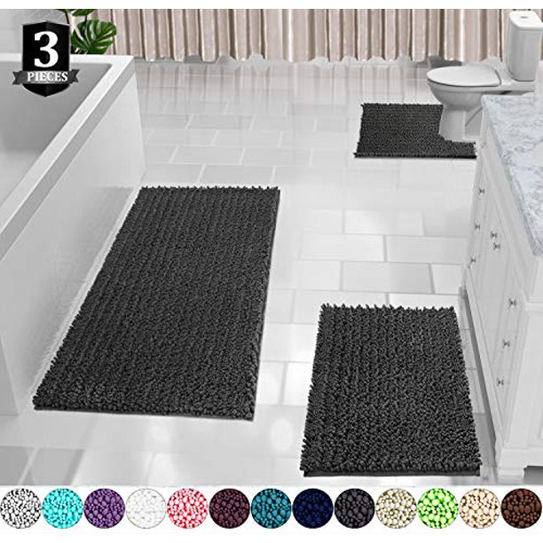 Yimobra 3 Piece Bath Mat Set Extra Large Shaggy Chenille Bathroom Mats Rugs Contour Toilet Soft And Comfortable Water Absorbent Thick Non Slip Machine Washable Dark Grey