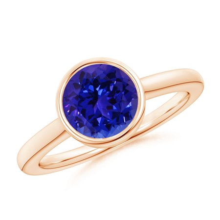 December Birthstone Ring - Bezel-Set Round Tanzanite Solitaire Engagement Ring in 14K Rose Gold (8mm Tanzanite) - SR1074T-RG-AAAA-8-6.5