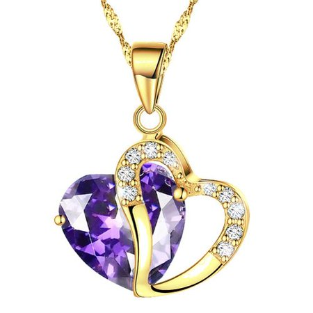 - KATGI Fashion Austrian Gold Plated Medium Purple Crystal Heart Shape Pendant Necklace, 18