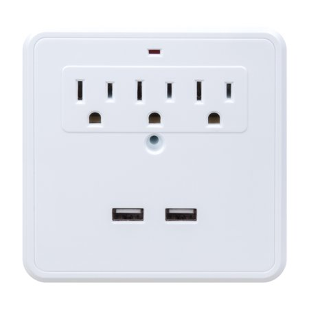 Globe Electric 1875 Watt 3-Outlet White Charging Station Two Phone Holders Surge Protector Wall Tap for $<!---->
