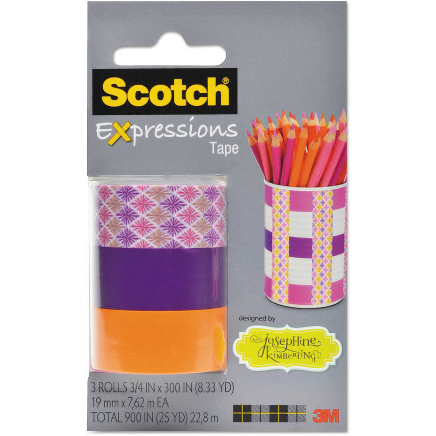 "Scotch Expressions Magic Tape, 3/4"" x 300"", Josephine Kimberling Asst. Starburst, 3 Pk"