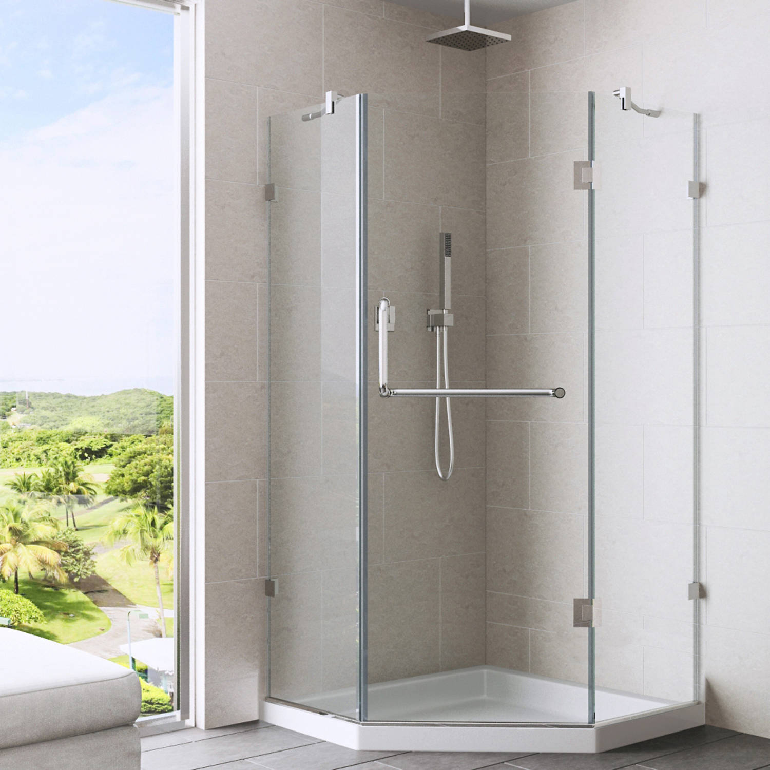"VIGO Piedmont 38"" x 38"" Frameless Neo-Angle .375"" Clear Glass/Brushed Nickel Hardware Shower Enclosure with Low-Profile Base"