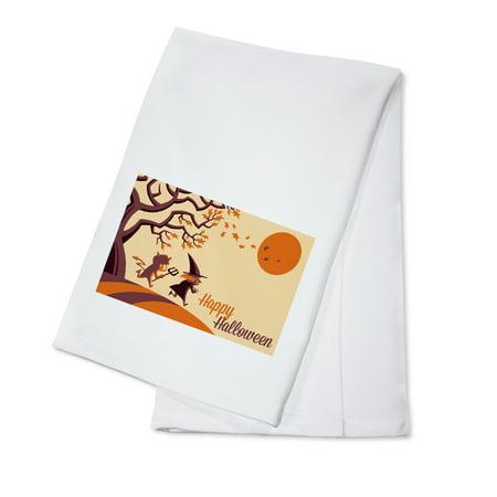 Happy Halloween Fall Tree - Retro Halloween - Lantern Press Artwork (100% Cotton Kitchen Towel) - Teia Halloween