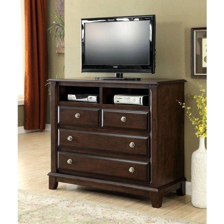 Furniture of America Lorinna 3-Drawer Media Chest, Brown Cherry