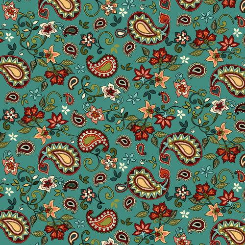 "Santa Fe Paisley Flower 44"" Cotton Fabric Print"