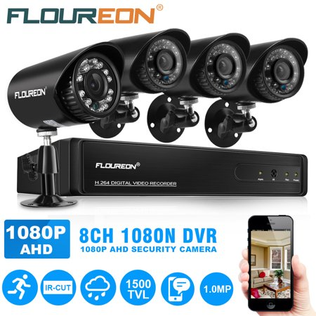 FLOUREON HD1080N Security Camera System for Home Surveillance with 4 1500TVL HD1080P Camera and 8CH DVR Kit(Night Vison, Weatherproof IP66) for Home Surveillance (Surveillance Equipment)