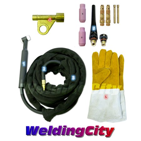 (WeldingCity WP-17F-25R Complete Ready-to-Go Package Flex-Head 25' 150 Amp Air-Cooled TIG Welding Torch)