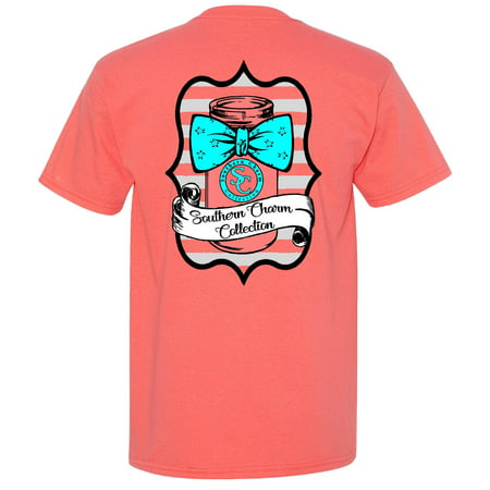 Mason Jar Bowtie Southern Charm Collection on a Coral Short Sleeve T