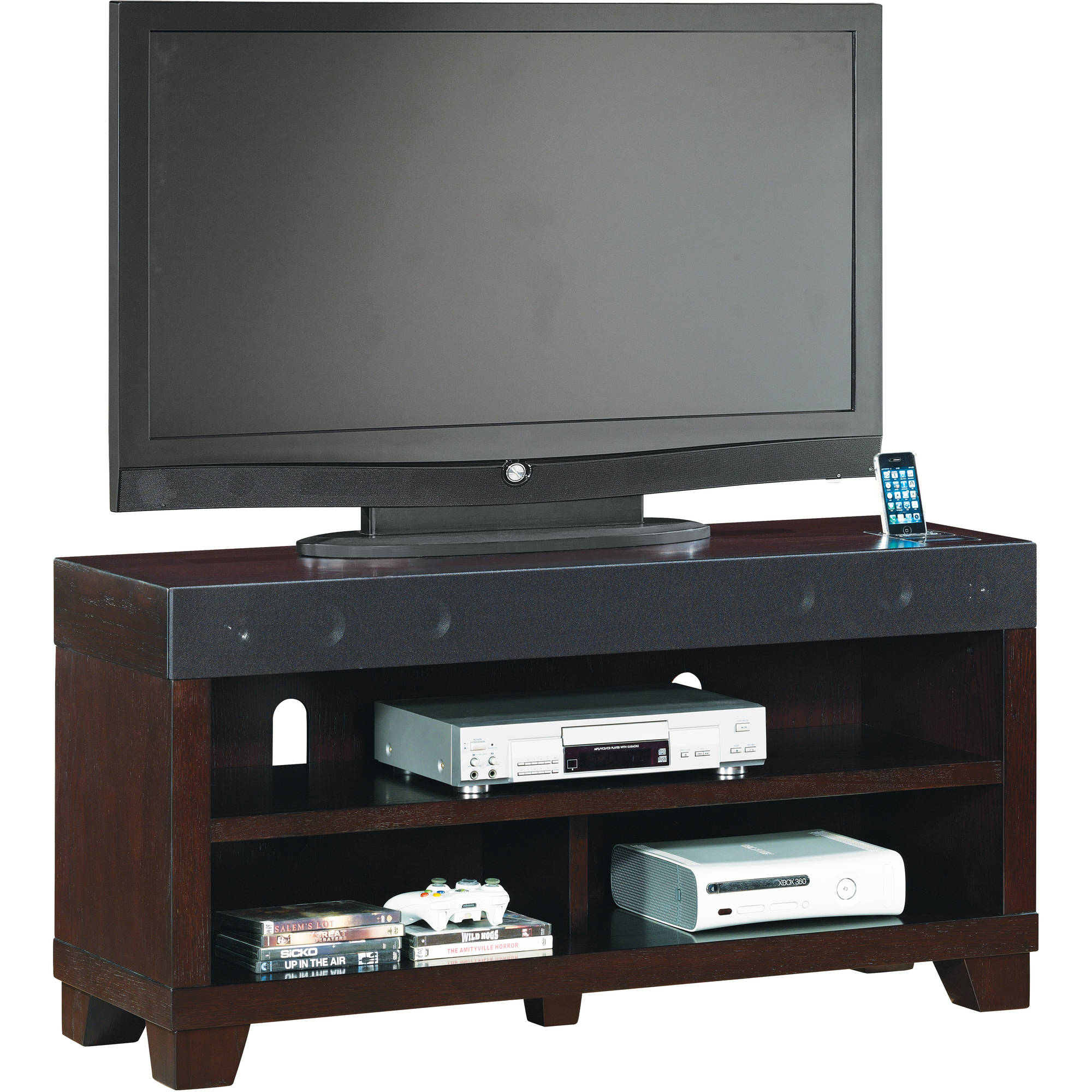 "Gotham TV Stand for TVs up to 70"", Silver/Black"