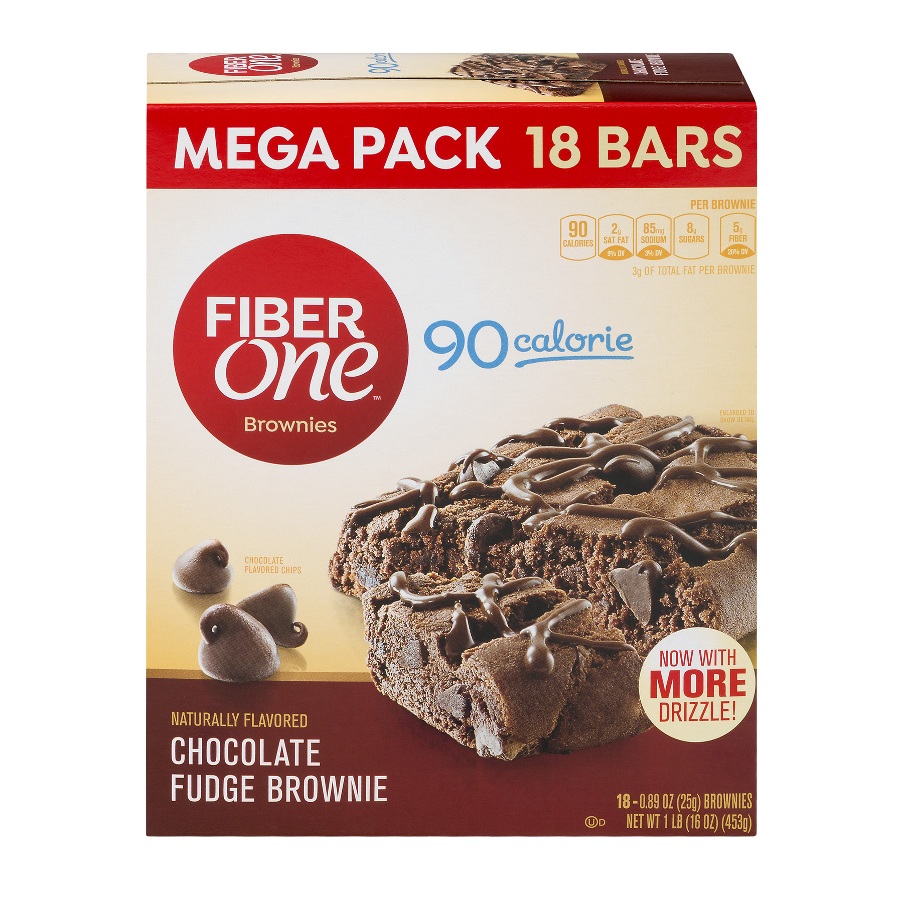 Fiber One Mega Pack, 90 Calorie Brownie Chocolate Fudge Bars, 0.89 oz, 18 ct