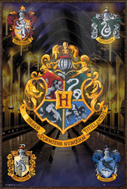 "Harry Potter Movie Poster   Print (House Crests Hogwarts, Gryffindor, Slytherin...) (Size: 24"" x 36"") by"