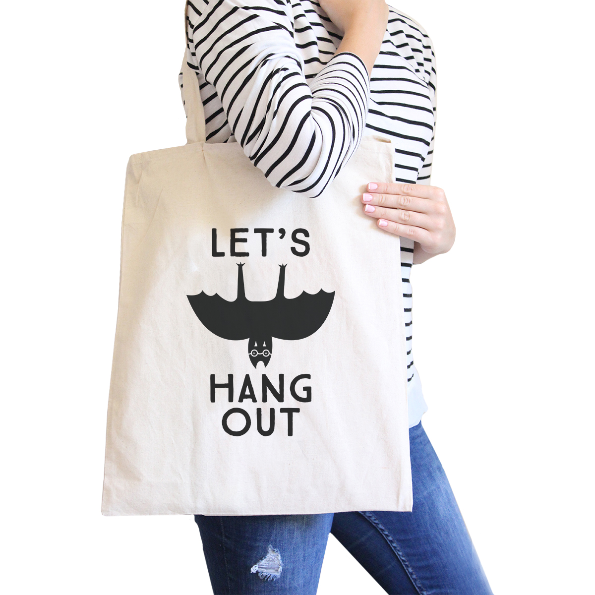 Let's Hang Out Bat Natural Halloween Canvas Bag Washable Diaper Bag