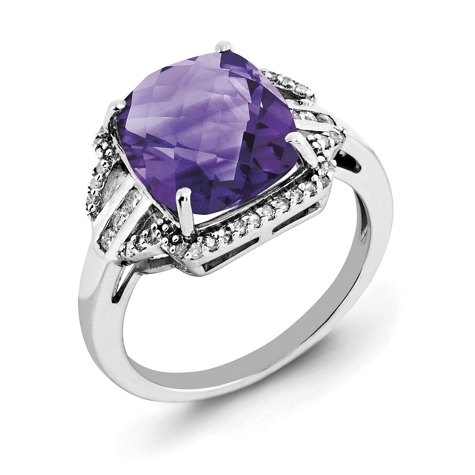 925 Sterling Silver Rhodium-plated Checker-Cut Amethyst and Diamond Ring - image 2 of 2