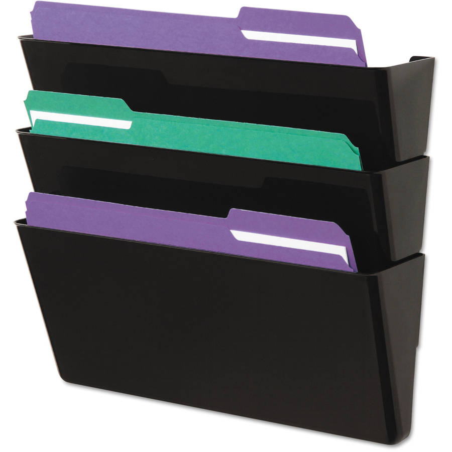 Universal Recycled Wall File, 3 Pocket, Plastic, Black
