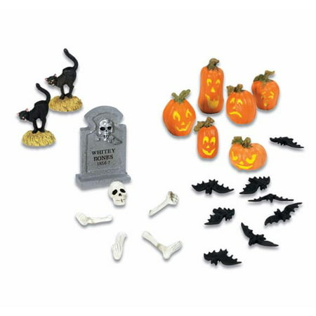 Department 56 Yard Decorations Mini Halloween Village Accessory 22 Piece Set - Easy Make Halloween Decorations Yard