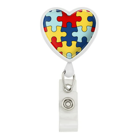 Autism Awareness Diversity Puzzle Pieces Heart Lanyard Retractable Reel Badge ID Card Holder - - Id Card Holder Lanyard