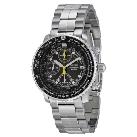 Seiko Flight Chronograph Steel Black Dial Mens Watch SNA411
