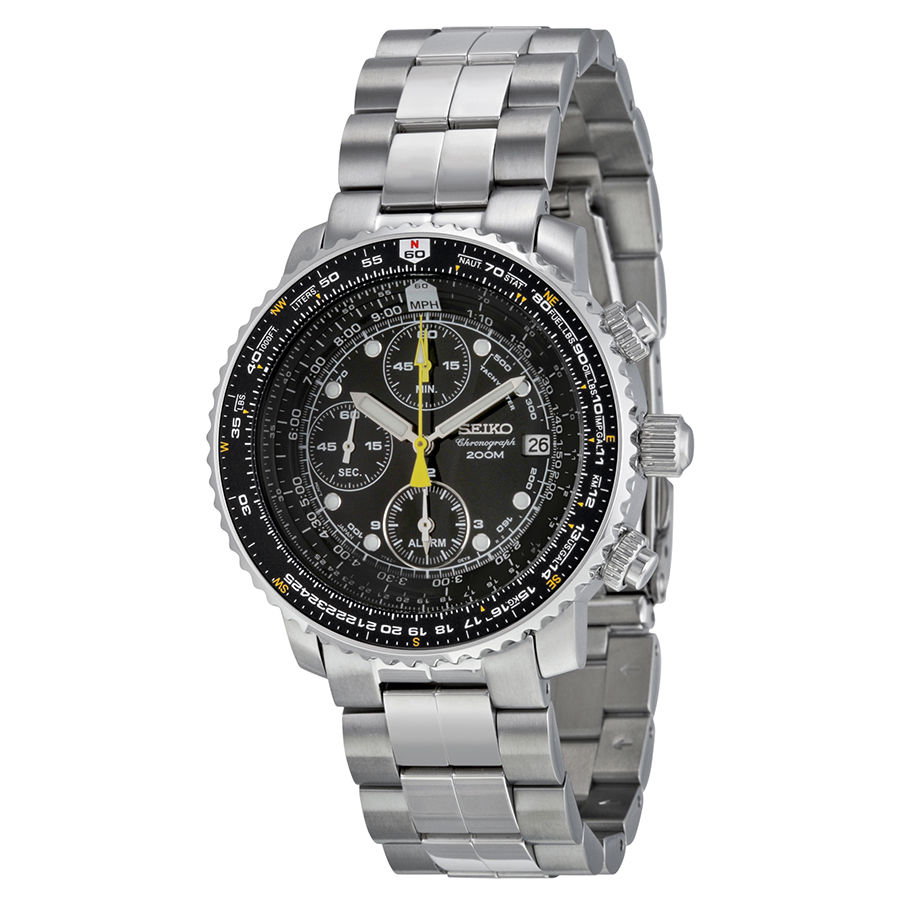 Seiko Flight Chronograph Steel Black Dial Men's Watch SNA411