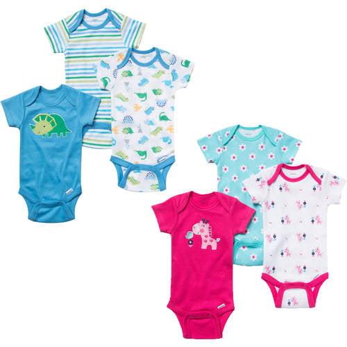 Gerber Onesies Brand Newborn Girl or Boy Assorted Short Sleeve Bodysuit 3 Pack, Your Choice