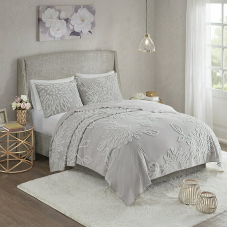Danica King/California King 3pc Tufted Cotton Chenille Floral Coverlet Set Gray/White