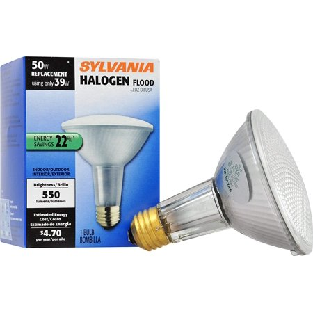 SYLVANIA 16156 6-pack Capsylite Long Neck Halogen Bulb Dimmable / PAR30 Reflector Wide Flood Light (50W replacement) / Medium Base E26 / 39 W / 2850K – warm - 50w Halogen Reflector Lamp