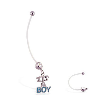 Super Long Flexible Bioplast Belly Ring With Dangling