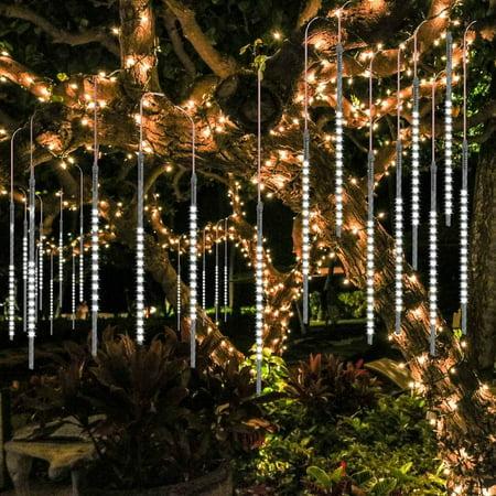 Halloween Icicle Lights (Meteor Shower Rain Drop Lights 50cm 10 Spiral Tubes 540 LEDs Waterproof Icicle Snowfall String Lights for Wedding Christmas Xmas Halloween Garden Tree Home Decor)