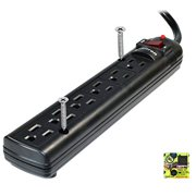 Weltron - Wall Mount 6 Outlet Surge Protector Power Strip 10 ft. Black (WSP-600PLF-10BK)