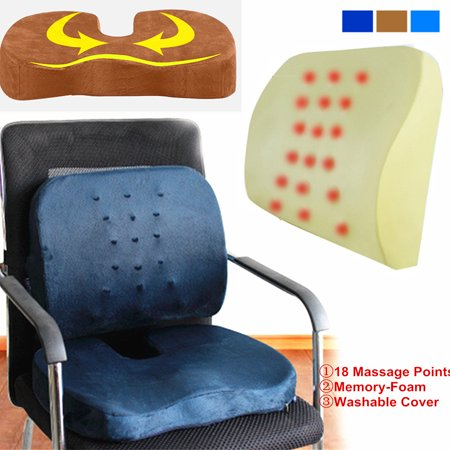 Combo Memory Foam Seat Cushion + Back Support Pillow - Orthopedic Office Car Chair Pillow Pads & Chair Cushions Wheelchair Cushions Outdoor Deep Seat Cushion for