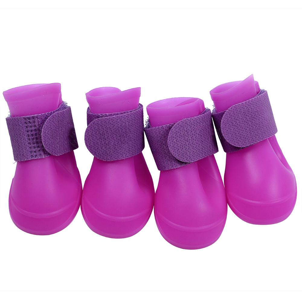 Topeakmart Cute Little Pet Dog Puppy Rain Snow Boots Shoes Booties Candy Colors Rubber Waterproof Anti-slip