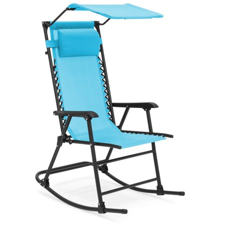 Best Choice Products Outdoor Folding Mesh Zero Gravity Rocking Chair with Attachable Sunshade Canopy and Headrest,