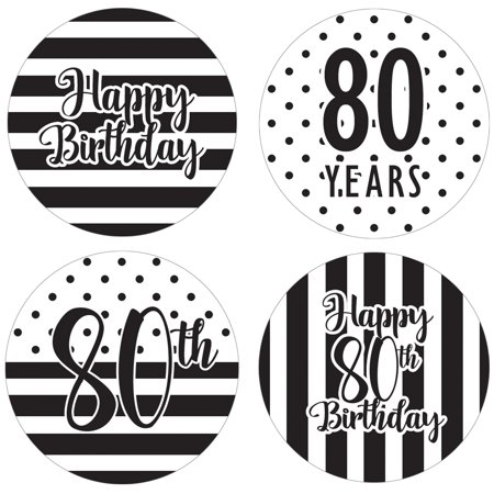 80th Birthday Party Favor Labels, 60ct - Black and White Stripe and Polka Dot Birthday Party Supplies - 60 Count Happy Birthday Stickers (1 3/4 inch)