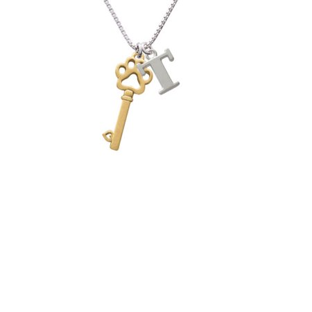 Goldtone Open Paw Key Capital Initial T Necklace