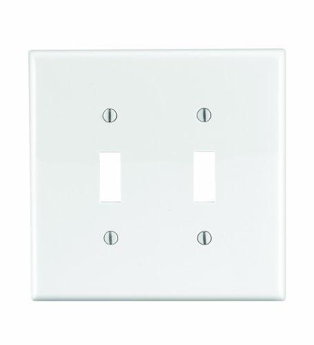 Leviton PJ2-W White Midway Nylon Two Gang Toggle Light Switch Wall Plate by Leviton