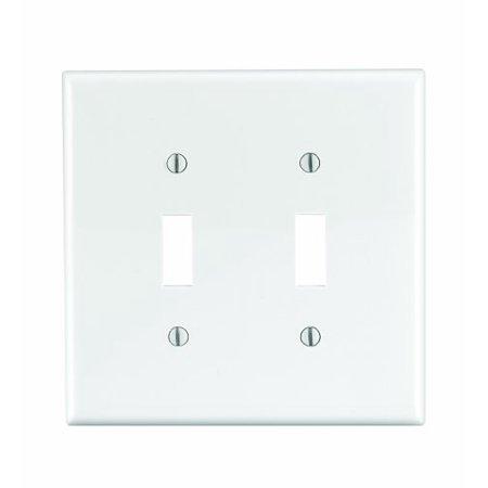 Leviton PJ2-W White Midway Nylon Two Gang Toggle Light Switch Wall Plate