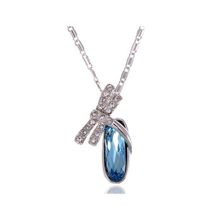 Faberge Egg Necklaces (Indicolite Tone Crystal Elements Dragonfly Egg Rhinestone Necklace )