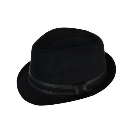 Men's Suede Fedora Hat with Leather Trim](Suede Fedora)