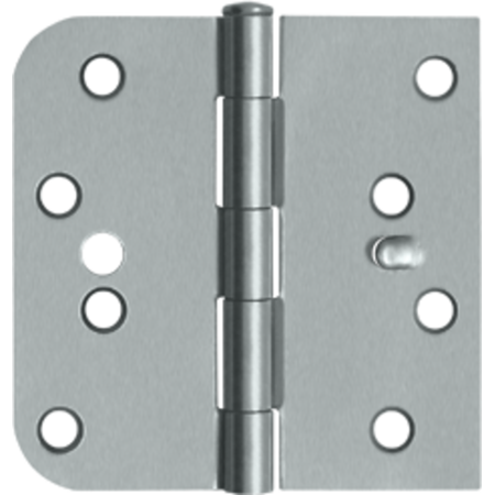 "4"" x 4"" 5/8"" Radius Corner Plain Bearing Mortise Hinge - Pair Brushed Chrome S44058TT26D-L/H"
