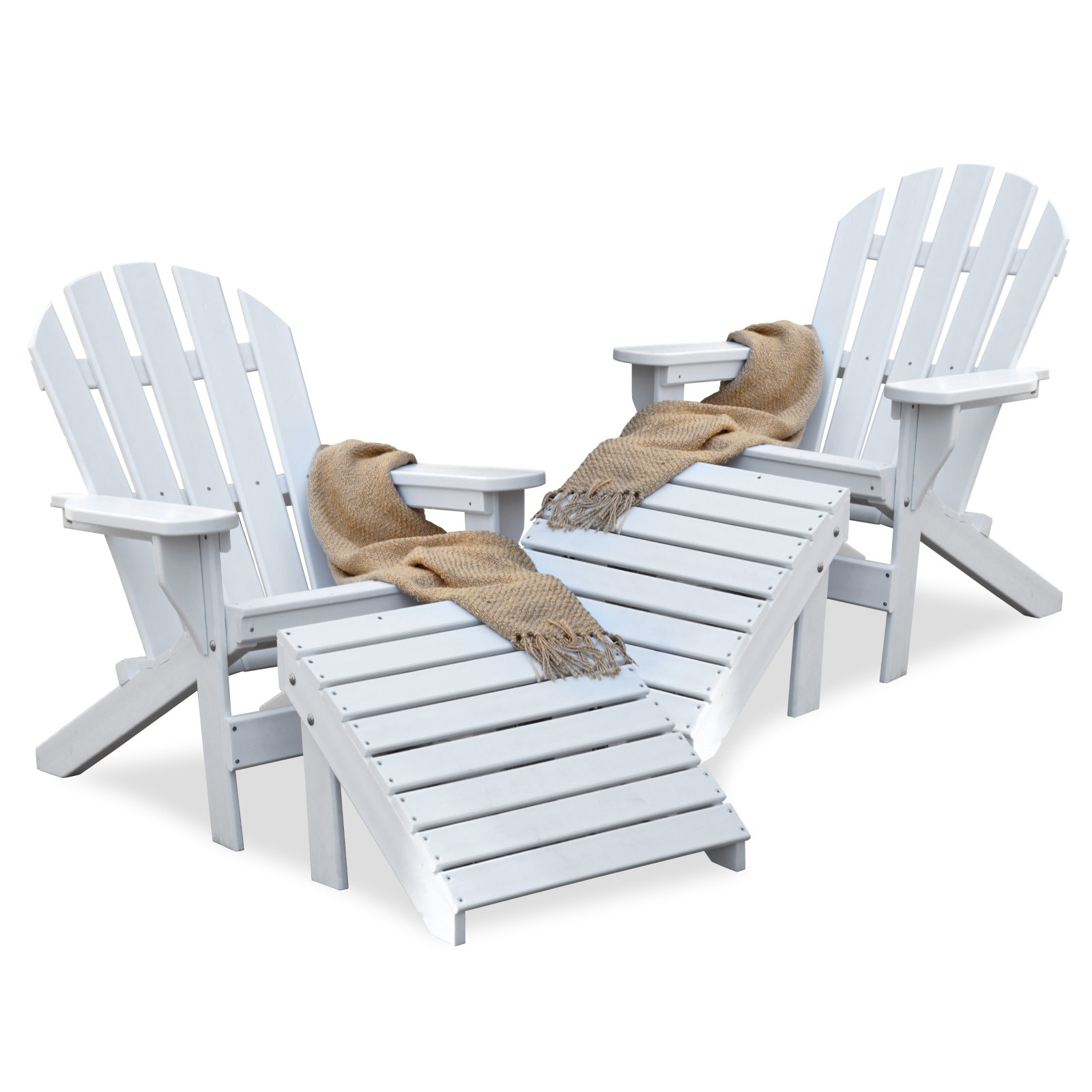 Jayhawk Plastics Recycled Plastic Cape Cod Adirondack Chair Set With Ottomans