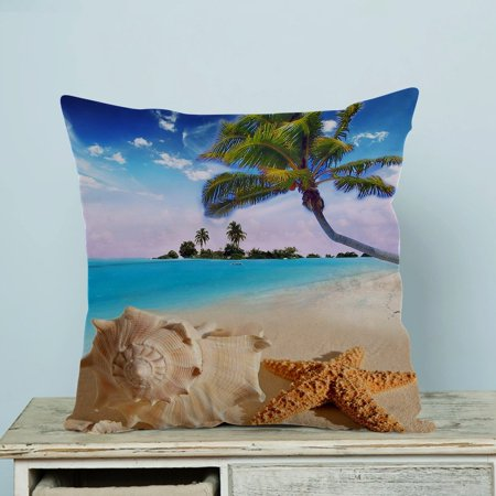 GCKG Starfish Sea Star Summer Beach Tropical Sea Life Palm Tree Conch Pillow Case Pillow Cover Pillow Protector Two Sides 18 x 18 Inches