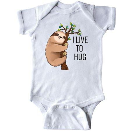 Inktastic I Live To Hug- Cute Sloth On A Branch Infant Creeper Animals Fun Tree