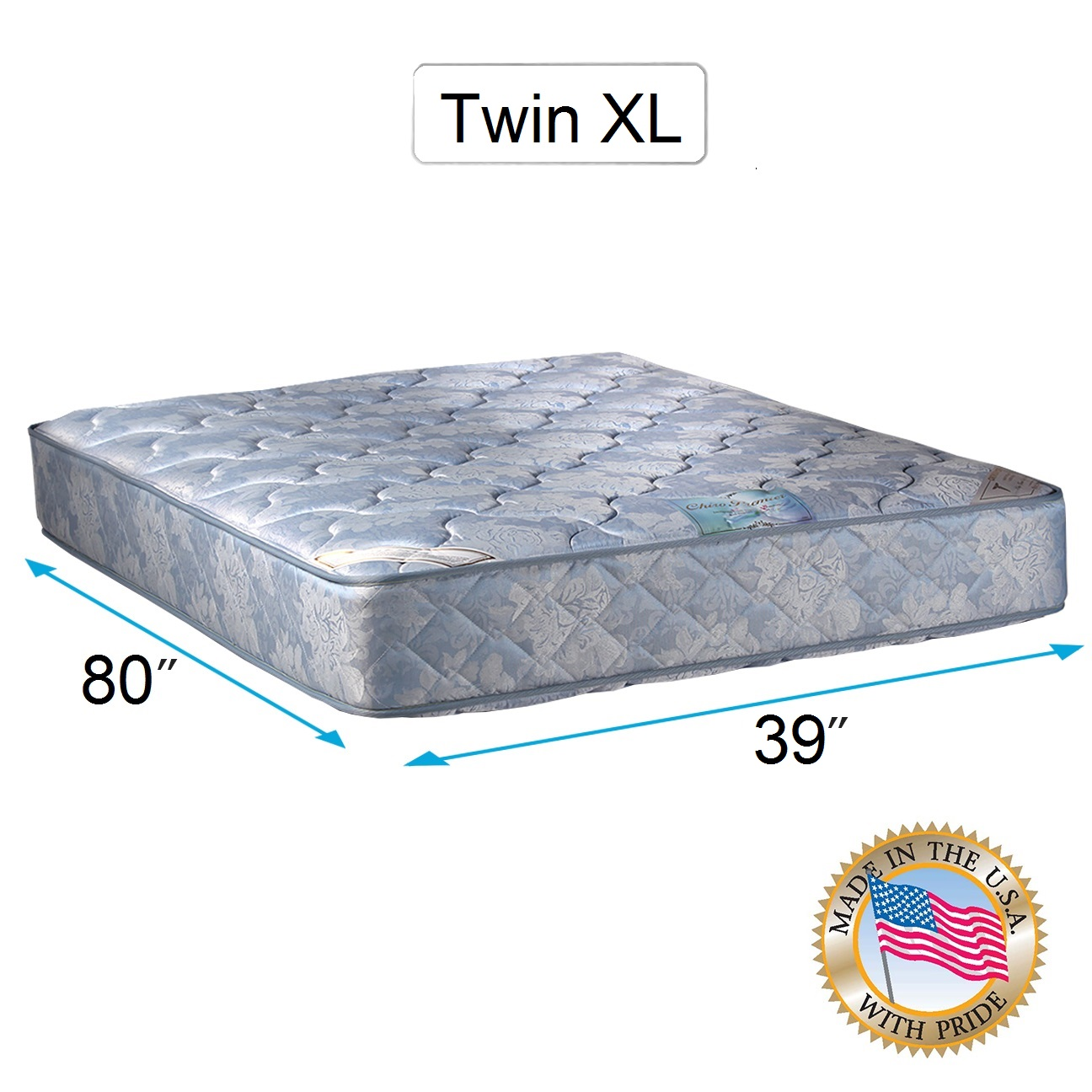 Chiro Premier 2-Sided Orthopedic (Blue Color) Twin XL Mattress Only with Mattress Cover Protector Included - Spine Support, Fully Assembled, Innerspring coils, Long Lasting by Dream Solutions USA